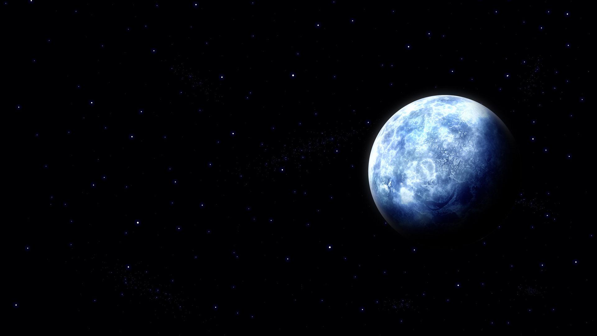 黑暗星空 蓝色地球壁纸
